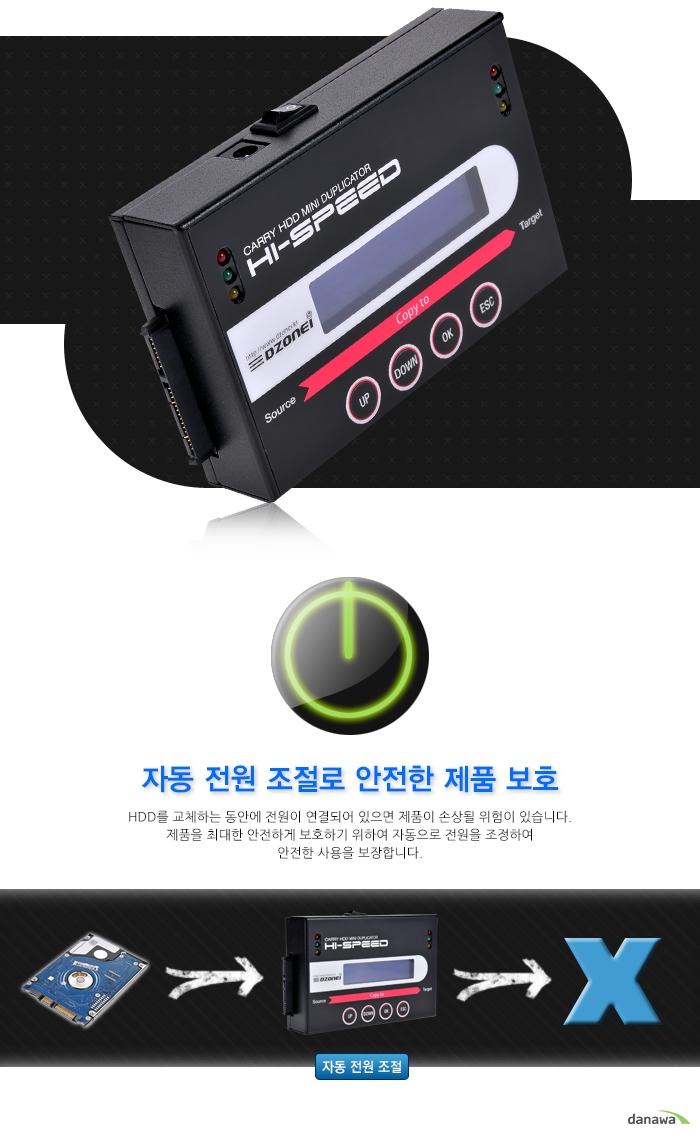 디지털존 FHC 511 Pro은 자동 전원 조절로 안전한 제품 보호가 가능합니다.