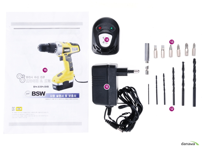 BSW 18V 충전 햄머드릴 BSW BS-1318-DB의 부속품