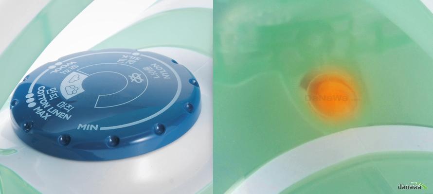 필립스 GC1930의 온도조절기와 작동표시등