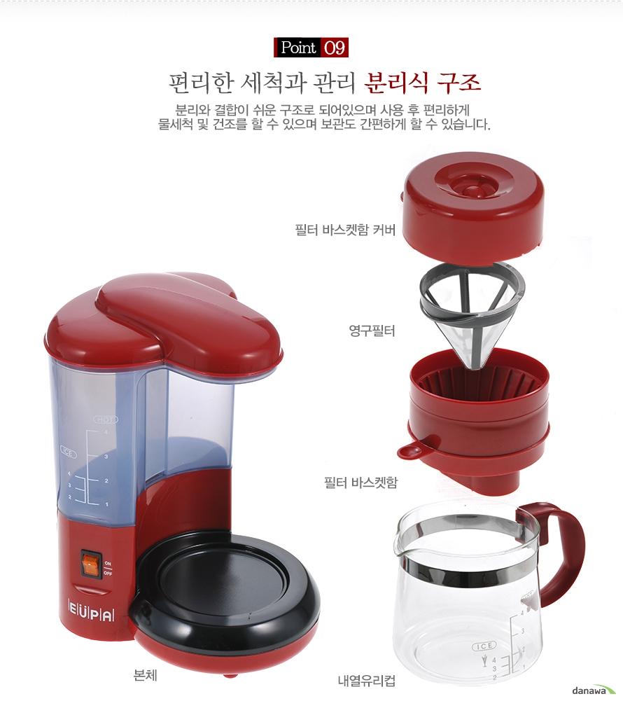 유파 커피메이커 TSK-190의 따뜻함을 오래오래 유지시키는 보온판