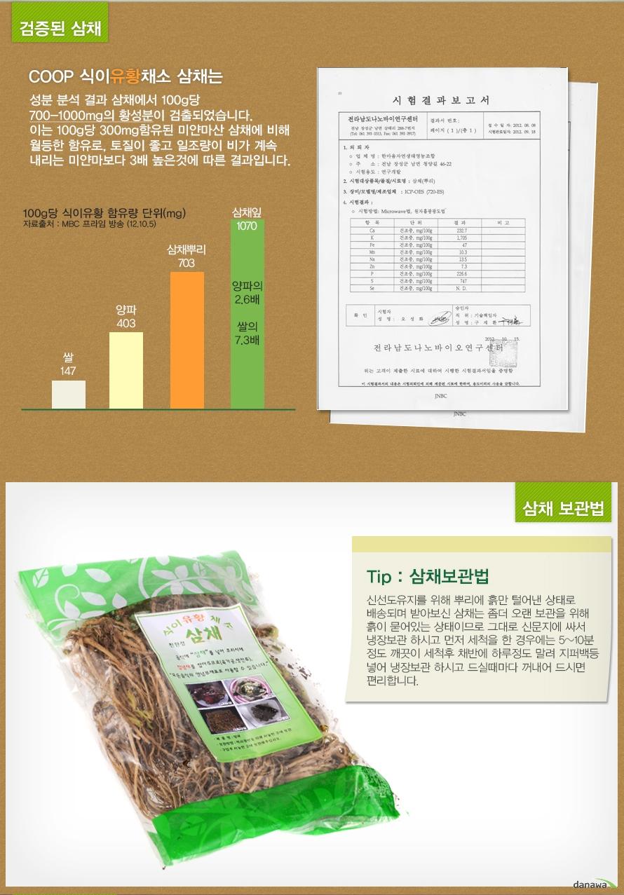 식이 유황 채소 삼채 보관방법
