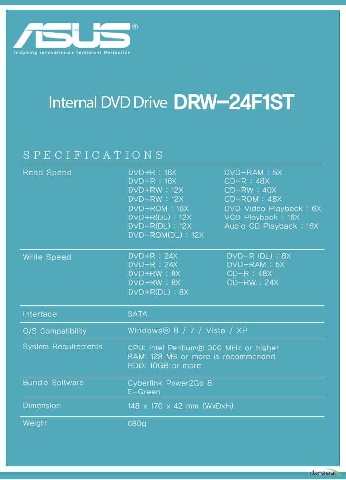 ASUS Inspiring Innovationa  Persistent Perfection    Internal DVD Drive  DRW-24F1ST    SPECIFICATIONS    Read Speed DVD+R : 16X DVD-R : 16X DVD+RW : 12X DVD-RW : 12X DVD-ROM : 16X DVD+R(DL) : 12X DVD-R(DL) : 12X DVD-ROM(DL) : 12X DVD-RAM : 5X CD-R : 48X CD-RW : 40X CD-ROM : 48X DVD Video Playback : 6X VCD Playback : 16X Audio CD Playback : 16X    Write Speed DVD+R : 24X DVD-R : 24X DVD+RW : 8X DVD-RW : 6X DVD+R(DL) : 8X DVD-R (DL) : 8X DVD-RAM : 5X CD-R : 48X CD-RW : 24X    InterfaceSATAO/S CompatibilityWindows 8 / 7 / Vista / XPSystem RequirementsCPU: Intel Pentium 300 MHz or higher RAM: 128 MB or more is recommended HDD: 10GB or moreBundle SoftwareCyberlink Power2Go 8E-GreenDimension148 x 170 x 42 mm (WxDxH)Weight680g