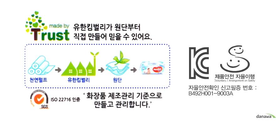 하기스 도톰한 물티슈 휴대용 20매의 제조과정 및 자율안전확인 신고필증번호