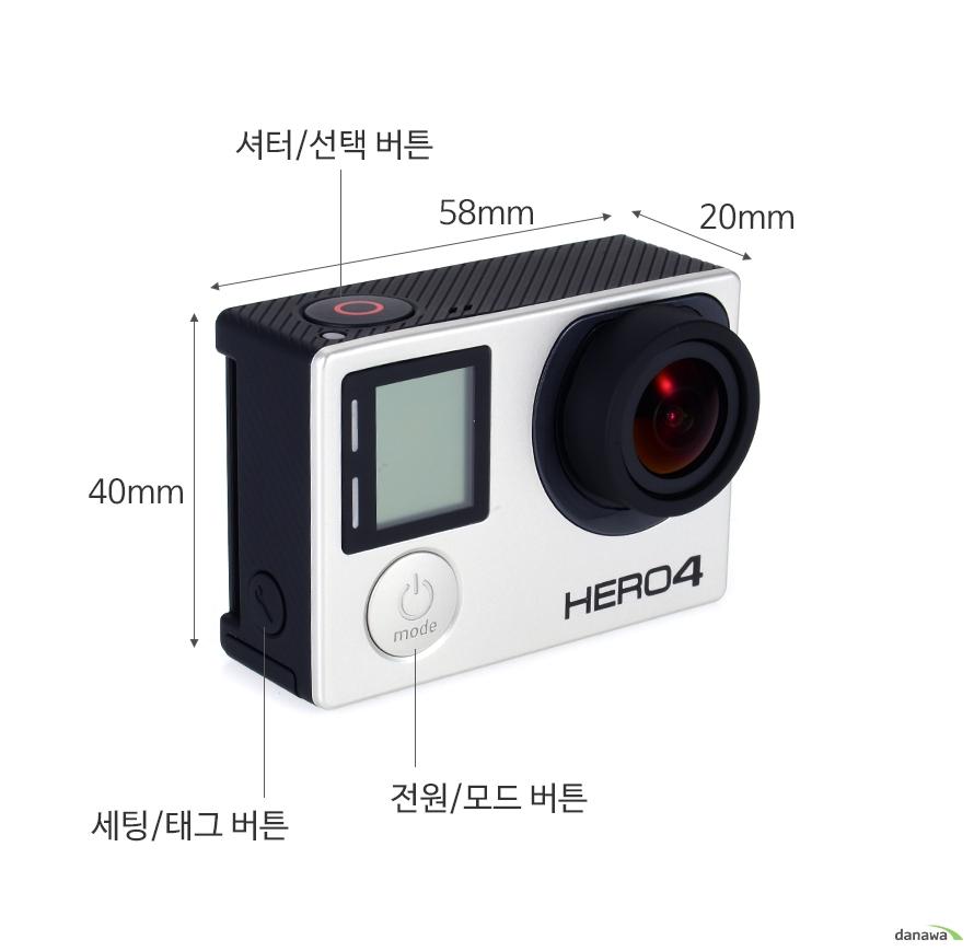 하이라이트 태그 / 캡쳐 등 버튼 하나로 손쉽게 사용40mm, 58mm, 20mm 전원/모드버튼, 세팅/태그버튼셔터/선택버튼