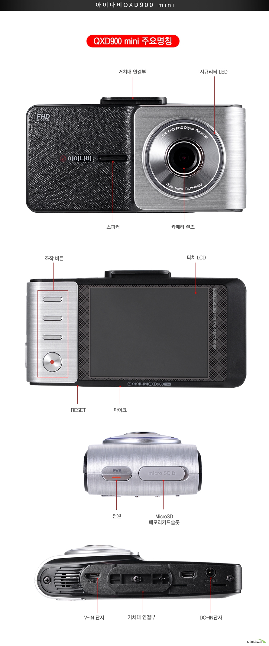 QXD900mini 주요명칭거치대 연결부 시큐리티LED 스피커 카메라 렌즈조작버튼 터치LCD Reset 마이크전원 MicroSD메모리카드 슬롯V in 단자 거치대연결부 DC IN단자