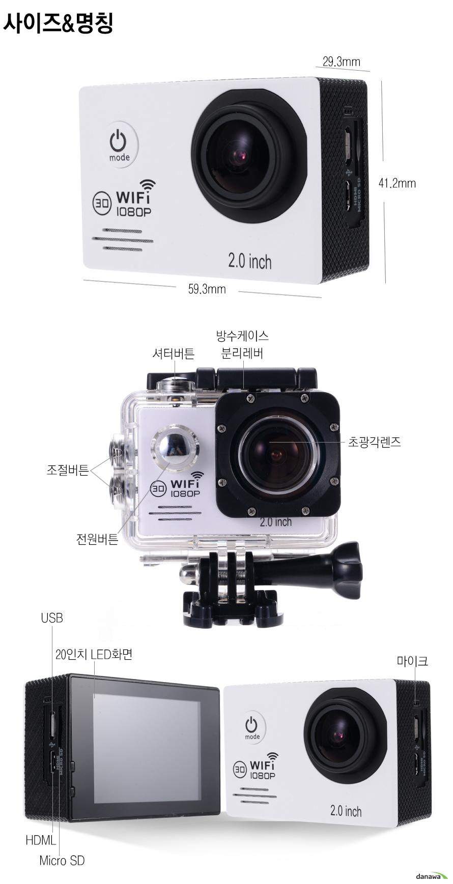 사이즈 그리고 명칭29.3mm,41.2mm,59.3mm셔터버튼, 방수케이스 분리레버조절버튼, 전원버튼, 초광각렌즈USB, 20인치  LED화면HDML, Micro SD, 마이크