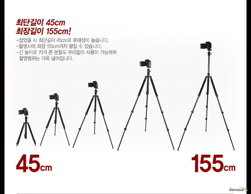 최단길이 45cm, 최장길이 155cm