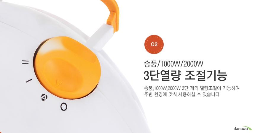 송풍/1000W/2000W 3단열량 조절기능 송풍,1000W,2000W 3단 계의 열량조절이 가능하여 주변 환경에 맞춰 사용하실 수 있습니다