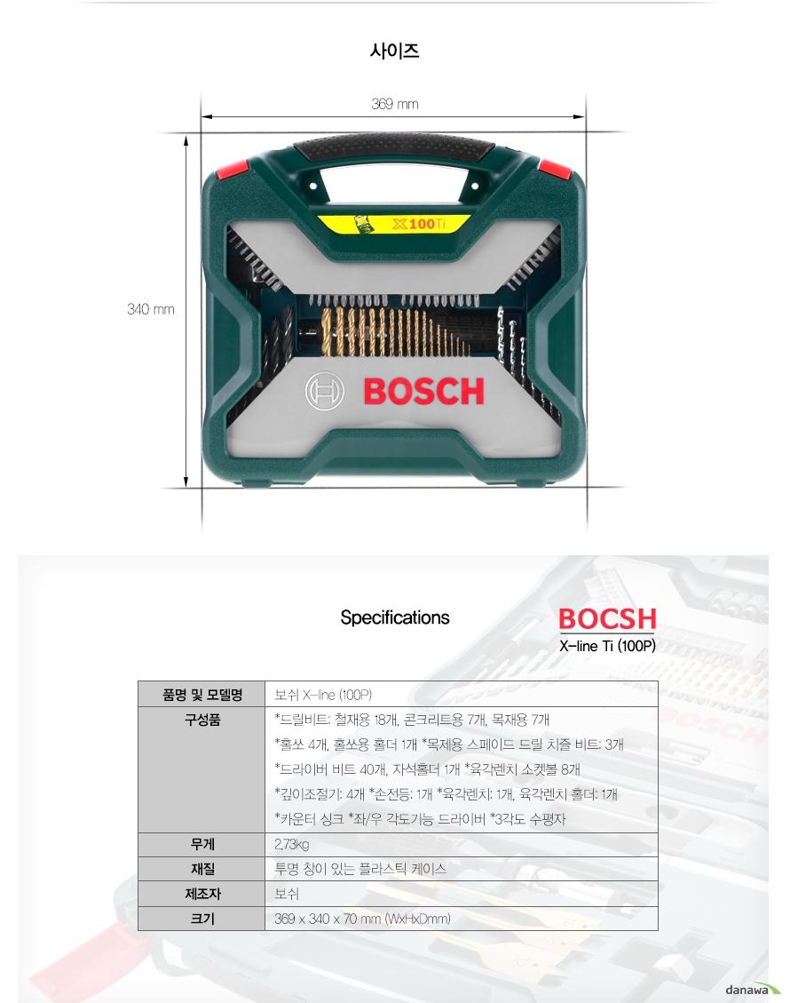 사이즈 369 mm 340 mm     Specifications BOCSH X-line Ti (100P)     품명 및 모델명보쉬 X-line (100P)구성품*드릴비트: 철재용 18개, 콘크리트용 7개, 목재용 7개*홀쏘 4개, 홀쏘용 홀더 1개 *목제용 스페이드 드릴 치즐 비트: 3개 *드라이버 비트 40개, 자석홀더 1개 *육각렌치 소켓볼 8개 *깊이조절기: 4개 *손전등: 1개 *육각렌치: 1개, 육각렌치 홀더: 1개 *카운터 싱크 *좌/우 각도기능 드라이버 *3각도 수평자무게2.73kg재질투명 창이 있는 플라스틱 케이스제조자보쉬크기369 x 340 x 70 mm (WxHxDmm)