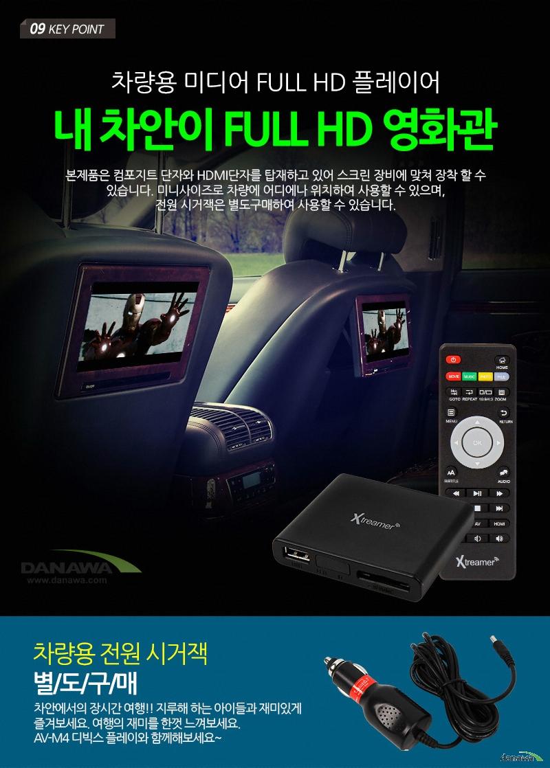 09 KEY POINT차량용 미디어 FULL HD 플레이어내 차안이 FULL HD 영화관본제품은 컴포지트 단자와 HDMI단자를 타재하고 있어 스크린 장비에 맞쳐 장착 할 수 있습니다. 미니사이즈로 차량에 어디에나 위치하여 사용할 수 있으며,전원 시거잭은 별도구매하여 사용할 수 있습니다.차량용 전원 시거잭 별/도/구/매차안에서의 장시간 여행!! 지루해 하는 아이들과 재미있게즐겨보세요. 여행의 재미를 한껏 느껴보세요.AV-M4 디빅스 플레이와 함께해보세요~