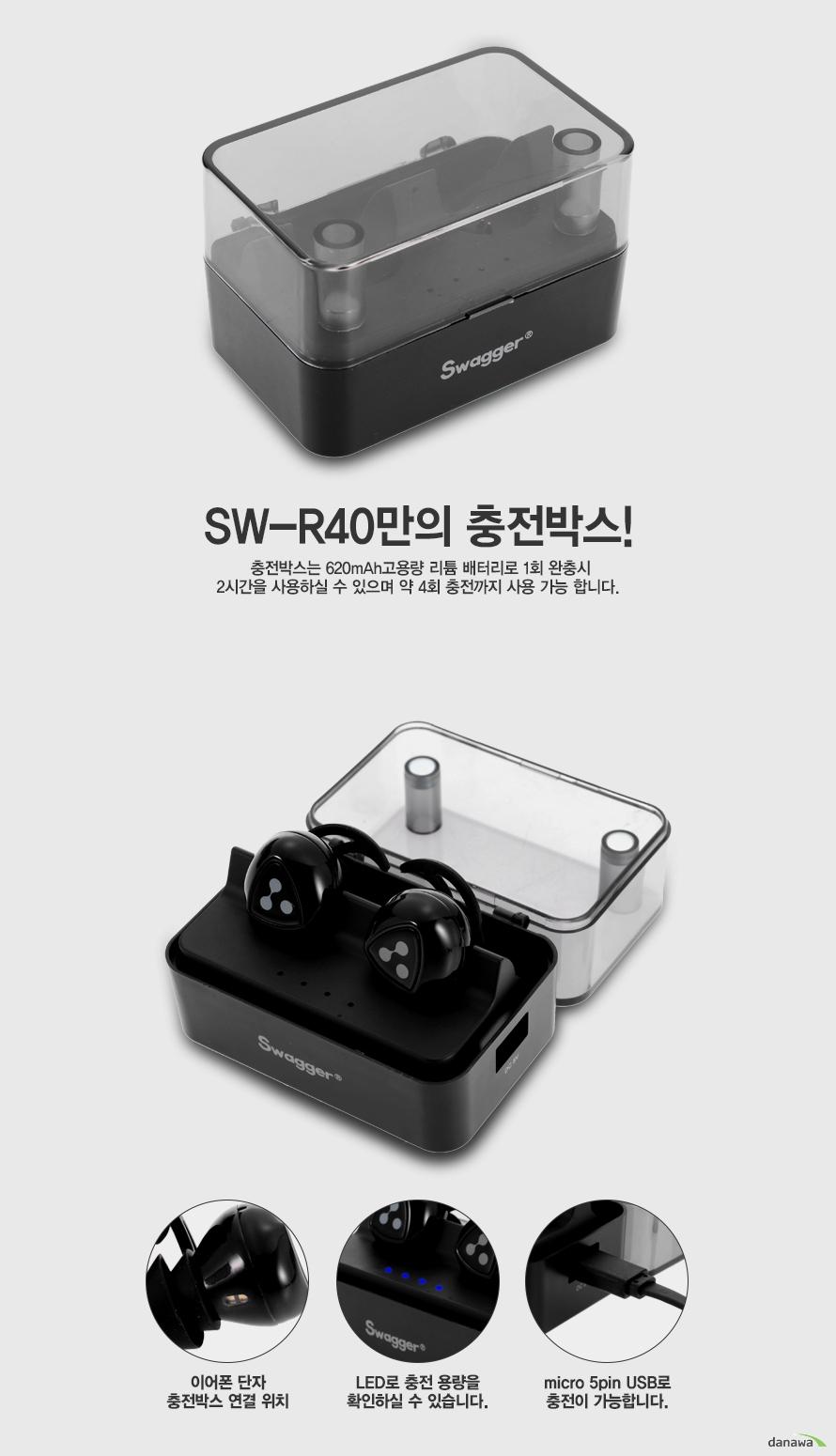 SW-R40만의 충전박스!충전박스는 620mAh고용량 리튬 배터리로 1회 완충시 2시간을 사용하실 수 있으며 약 4회 충전까지 사용 가능 합니다. 이어폰 단자 충전박스 연결 위치LED로 충전 용량을 확인하실 수 있습니다.micro 5pin USB로 충전이 가능합니다.