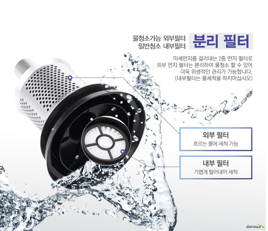 물청소가능 외부필터 일반청소 내부필터 분리 필터 미세먼지를 걸러내는 2중 먼지 필터로 외부 먼지 필터는 분리하여 물청소 할 수 있어 더욱 위생적인 관리가 가능합니다. (내부필터는 물세척을 하지마십시오)/외부 필터 흐르는 물에 세척 가능/내부 필터 가볍게 털어내어 세척