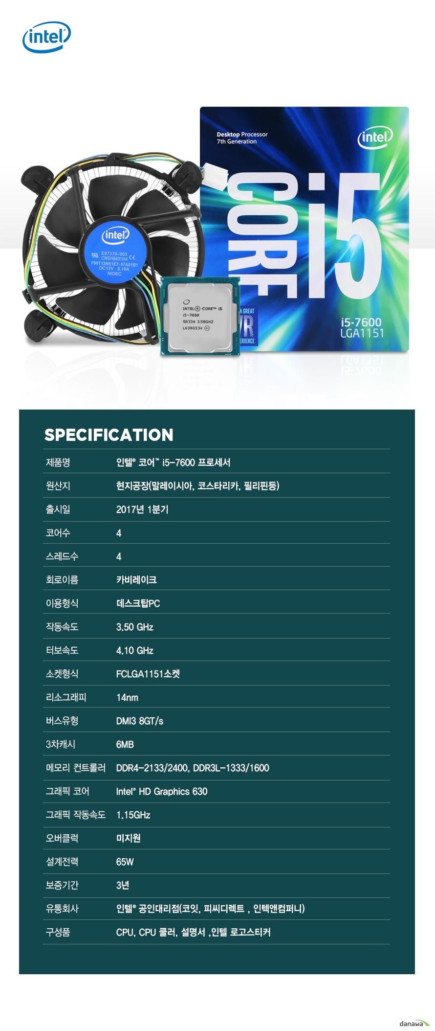 SPECIFICATION                제품명 인텔 코어 i5 - 7600 프로세서                        원산지 현지공장 말레이시아 코스타리카 필리핀등                출시일 2017년 1분기                코어수 4                스레드수 4                회로이름 카비레이크                이용형식 데스크탑PC                작동속도 3.50GHZ                터보속도 4.10GHZ                소켓형식 FCLGA1151소켓                리소그래피 14NM                버스유형 DMI3 8GT/S                3차캐시 6MB                메모리 컨트롤러 DDR4-2133/2400 DDR3L-1333/1600                그래픽 코어 INTEL HD GRAPHICS 630                그래픽 작동속도 1.15GHZ                오버클럭 미지원                설계전력 65W                보증기간 3년                유통회사 인텔 공인대리점 코잇 피씨디렉트 인텍엔 컴퍼니                구성품 CPU CPU쿨러 설명서 인텔 로고스티커