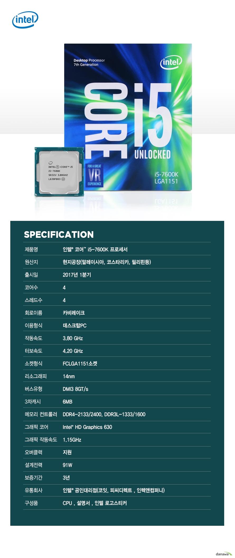 SPECIFICATION                제품명 인텔 코어 i5 - 7600K 프로세서                        원산지 현지공장 말레이시아 코스타리카 필리핀등                출시일 2017년 1분기                코어수 4                스레드수 4                회로이름 카비레이크                이용형식 데스크탑PC                작동속도 3.80GHZ                터보속도 4.20GHZ                소켓형식 FCLGA1151소켓                리소그래피 14NM                버스유형 DMI3 8GT/S                3차캐시 6MB                메모리 컨트롤러 DDR4-2133/2400 DDR3L-1333/1600                그래픽 코어 INTEL HD GRAPHICS 630                그래픽 작동속도 1.15GHZ                오버클럭 지원                설계전력 91W                보증기간 3년                유통회사 인텔 공인대리점 코잇 피씨디렉트 인텍엔 컴퍼니                구성품 CPU 설명서 인텔 로고스티커