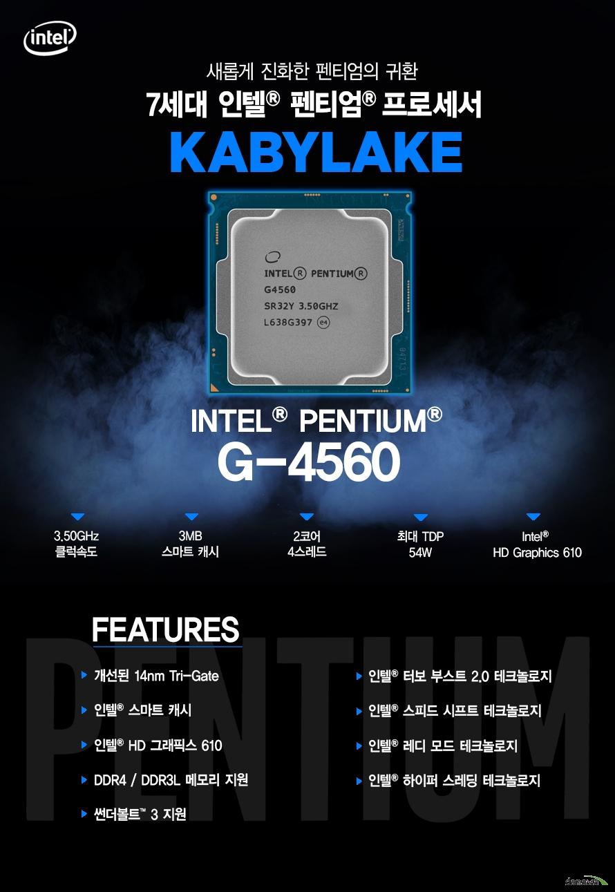 새롭게 진화한 펜티엄의 귀환         7세대 인텔 펜티엄 프로세서         KABYLAKE         G4560         최대 3.50ghz 클럭속도         3mb 스마트 캐시         2코어 4스레드         최대 tdp 54w         intel hd graphics 610                  FEATURES         개선된 14NM TRI GATE         인텔 스마트 캐시         인텔 HD 그래픽스 610         DDR4 DDR3L 메모리 지원         썬더볼트 3 지원         인텔 하이퍼 스레딩 테크놀로지         인텔 터보부스트 2.0 테크놀로지         인텔 스피드 시프트 테크놀로지         인텔 레디 모드 테크 놀로지