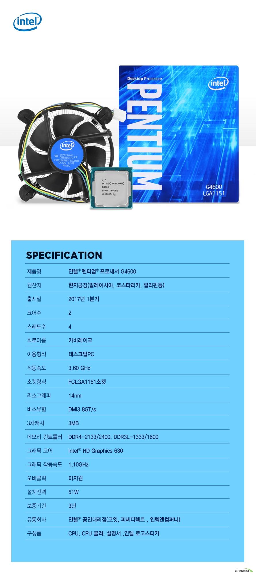 SPECIFICATION                제품명 인텔 펜티엄 프로세서 G4600                        원산지 현지공장 말레이시아 코스타리카 필리핀등                출시일 2017년 1분기                코어수 2                스레드수 4                 회로이름 카비레이크                이용형식 데스크탑PC                작동속도 3.60GHZ                소켓형식 FCLGA1151소켓                리소그래피 14NM                버스유형 DMI3 8GT/S                3차캐시 3MB                메모리 컨트롤러 DDR4-2133/2400 DDR3L-1333/1600                그래픽 코어 INTEL HD GRAPHICS 630                그래픽 작동속도 1.10GHZ                오버클럭 미지원                설계전력 51W                보증기간 3년                유통회사 인텔 공인대리점 코잇 피씨디렉트 인텍엔 컴퍼니                구성품 CPU CPU쿨러 설명서 인텔 로고스티커