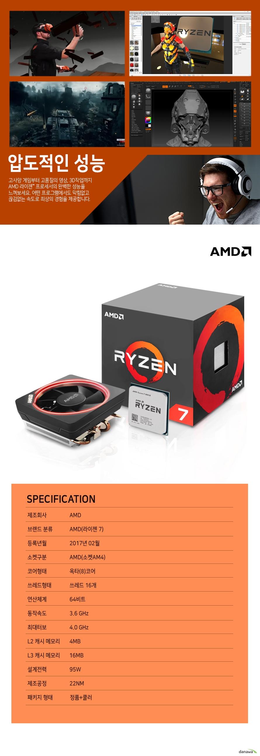 압도적인 성능                    고사양 게임부터 고품질의 영상 , 3D 작업까지 AMD 라이젠 프로세서의          완벽한 성능을 느껴보세요. 어떤 프로그램에서도 막힘없고 끊김없는          속도로 최상의 경험을 제공합니다.                    SPECIFICATION          제조 회사 AMD          브랜드 분류 AMD(라이젠 7)          등록년월 2017년 2월          소켓구분 AMD(소켓 AM4)          코어형태 옥타(8)코어          쓰레드 형태 쓰레드 16개          연산체계 64비트          동작속도 3.6GHZ          최대 터보 4.0GHZ          L2 캐시 메모리 4MB          L3 캐시 메모리 16MB          설계전력 95W          제조공정 22NM          패키지 형태 정품+쿨러
