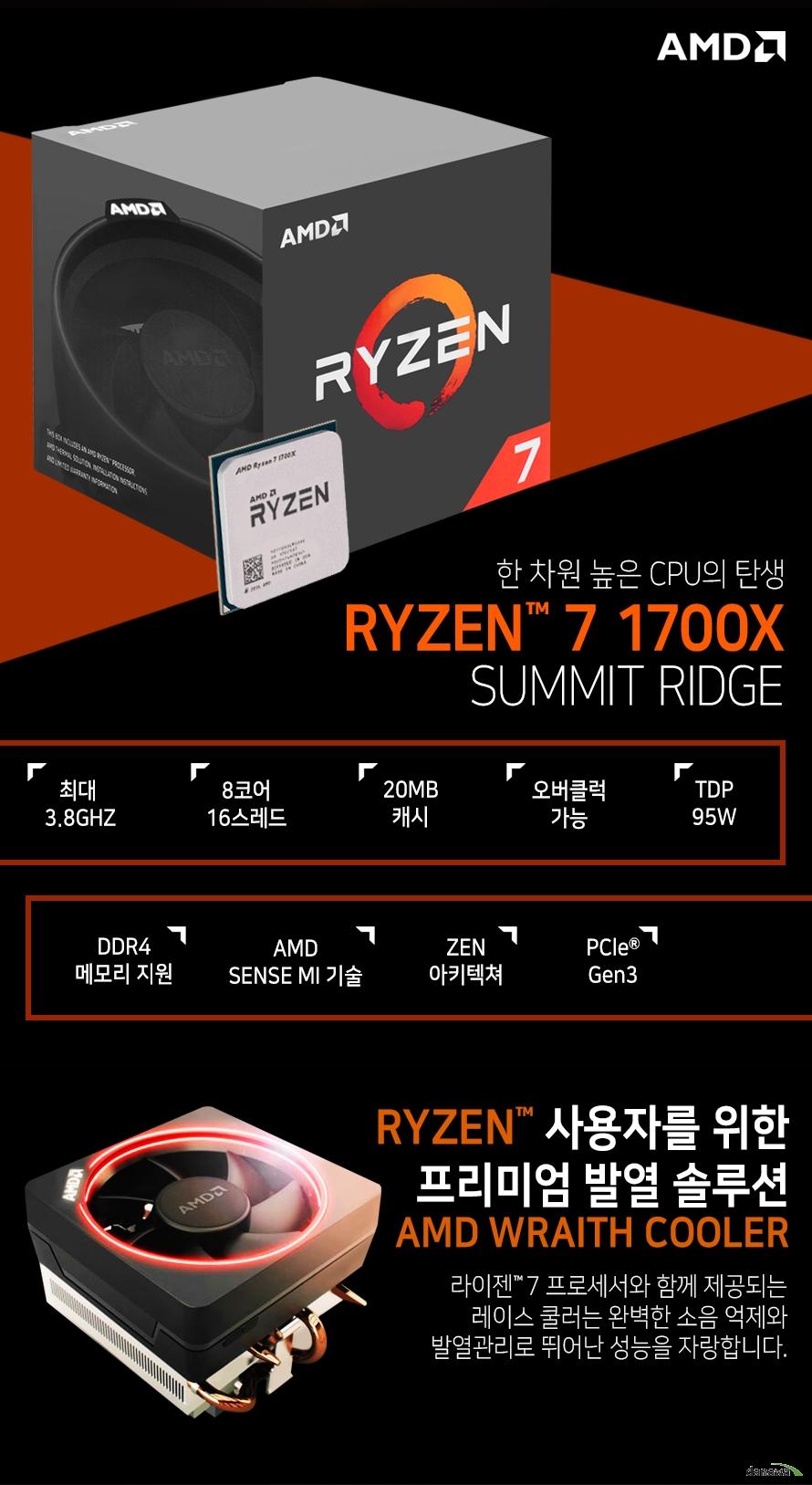한 차원 높은 CPU의 탄생         RYZEN 7 1700X         SUMMIT RIDGE                  최대 3.8GHZ          8코어 16스레드         20MB 캐시         오버클럭 가능         TDP 95W         DDR4 메모리 지원         AMD SENSE MI 기술         ZEN 아키텍쳐         PCle Gen 3                  RYZEN 사용자를 위한 프리미엄 발열 솔루션         AMD WRAITH COOLER                  라이젠 7 프로세서와 함께 제공되는 레이스 쿨러는          완벽한 소음 억제와 발열관리로 뛰어난 성능을 자랑합니다.