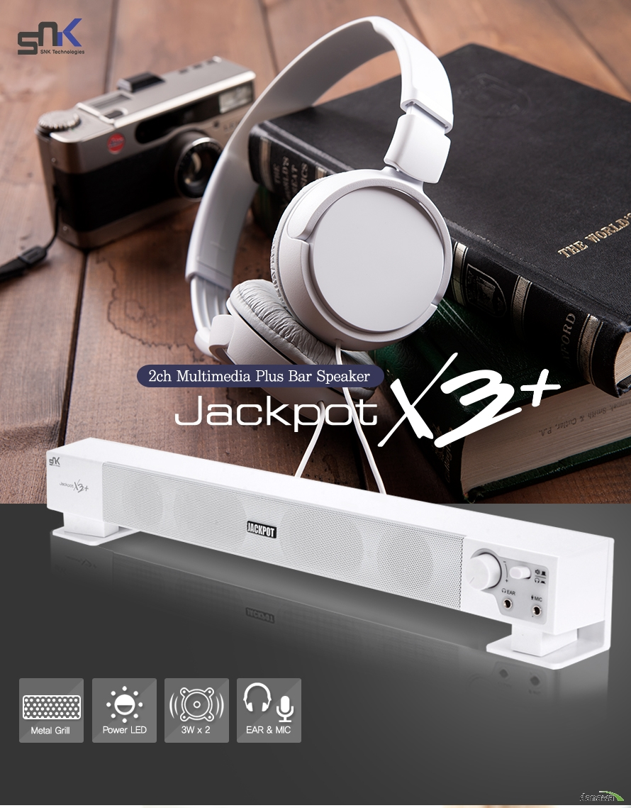 SNK 2ch multimedia Plus bar speaker jackpot X3+    Metal Grill    Power LED    3W X 2    Ear, MIc