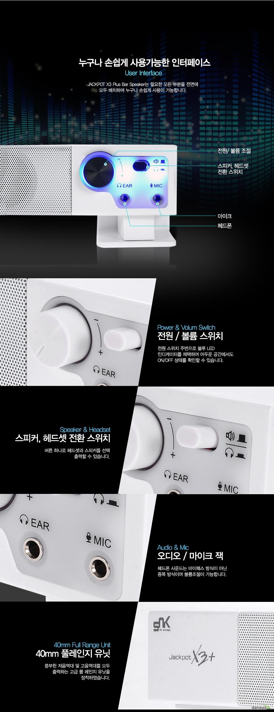 누구나 손쉽게 사용가능한 인터페이스 User interface    Jackpot x3 Plus Bar speaker는 필요한 모든 부분을 전면에 모두 배치하여 누구나 손쉽게 사용이 가능합니다.    전원 볼륨조절 스피커 헤드셋 전환 스위치 마이크 헤드폰    전원 볼륨 스위치 전원스위치주변으로 블루 LED 인디케이터를 채택하여 어두운 공간에서도 On off 상태를 환일할 수 있습니다.    스피커 헤드셋 전환 스위치 버튼 하나로 헤드셋과 스피커를 선택 출력할 수 있습니다.    오디오 마이크 잭 헤드폰 사운드는 바이패스 방식이 아닌 증폭 방식이며 볼륨조절이 가능합니다.    40mm 풀레인지 유닌 풍부한 저음역대 및 고음역대를 모두 출력하는 고급 풀 레인지 유닛을 장착하였습니다.
