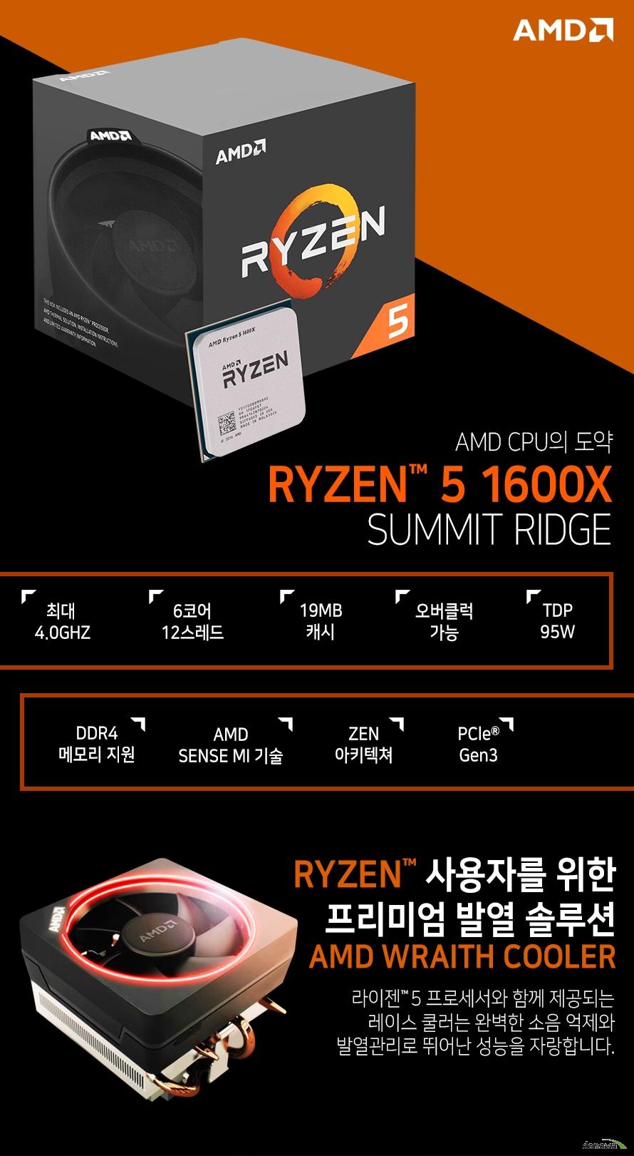 AMD CPU의 도약         RYZEN 5 1600X         SUMMIT RIDGE                  최대 4.0GHZ          6코어 12스레드         19MB 캐시         오버클럭 가능         TDP 95W         DDR4 메모리 지원         AMD SENSE MI 기술         ZEN 아키텍쳐         PCle Gen 3                  RYZEN 사용자를 위한 프리미엄 발열 솔루션         AMD WRAITH COOLER                  라이젠 5 프로세서와 함께 제공되는 레이스 쿨러는          완벽한 소음 억제와 발열관리로 뛰어난 성능을 자랑합니다.