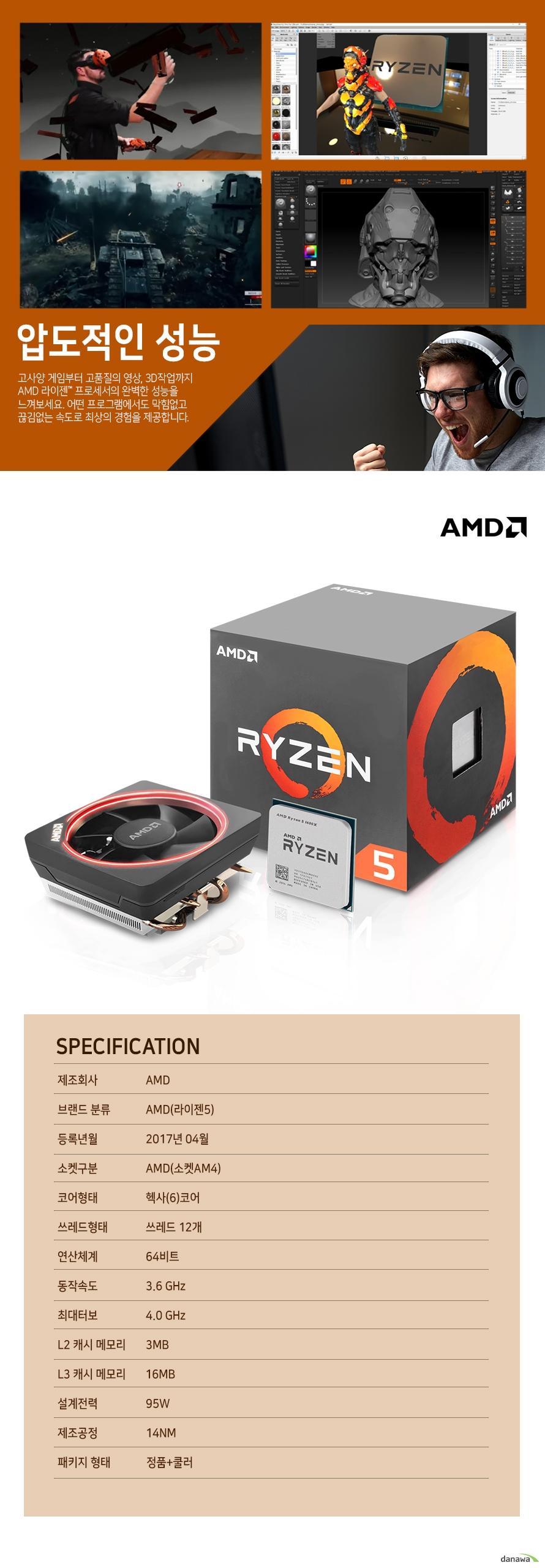 압도적인 성능                    고사양 게임부터 고품질의 영상 , 3D 작업까지 AMD 라이젠 프로세서의          완벽한 성능을 느껴보세요. 어떤 프로그램에서도 막힘없고 끊김없는          속도로 최상의 경험을 제공합니다.                    SPECIFICATION          제조 회사 AMD          브랜드 분류 AMD(라이젠 5)          등록년월 2017년 4월          소켓구분 AMD(소켓 AM4)          코어형태 헥사(6)코어          쓰레드 형태 쓰레드 12개          연산체계 64비트          동작속도 3.6GHZ          최대 터보 4.0GHZ          L2 캐시 메모리 3MB          L3 캐시 메모리 16MB          설계전력 95W          제조공정 14NM          패키지 형태 정품+쿨러