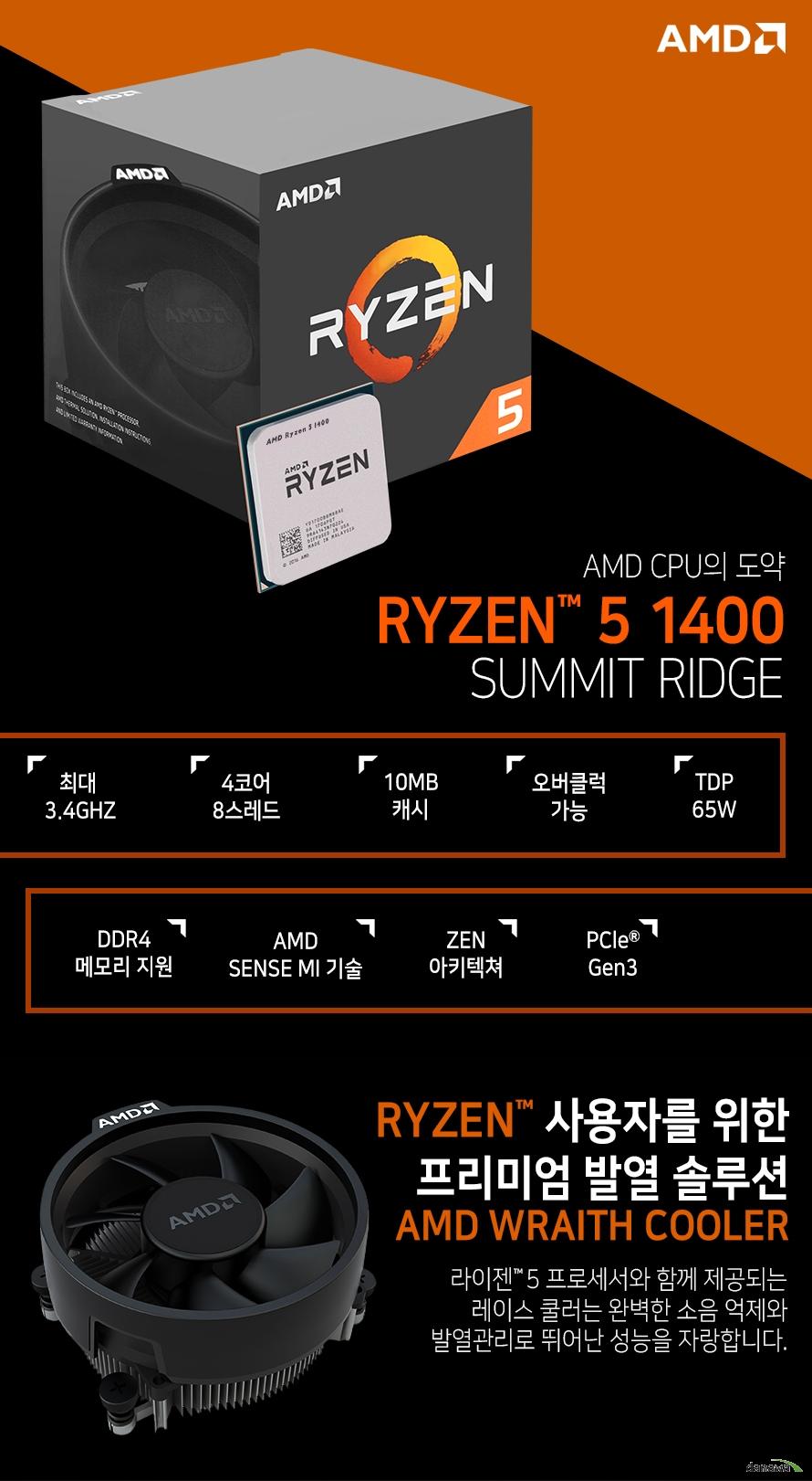 AMD CPU의 도약         RYZEN 5 1400         SUMMIT RIDGE                  최대 3.4GHZ          4코어 8스레드         10MB 캐시         오버클럭 가능         TDP 65W         DDR4 메모리 지원         AMD SENSE MI 기술         ZEN 아키텍쳐         PCle Gen 3                  RYZEN 사용자를 위한 프리미엄 발열 솔루션         AMD WRAITH COOLER                  라이젠 5 프로세서와 함께 제공되는 레이스 쿨러는          완벽한 소음 억제와 발열관리로 뛰어난 성능을 자랑합니다.