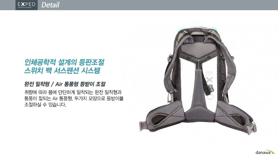 인체공학적 설계의 등판조절 스위치 백 서스팬션 시스템    완전 밀착형 / Air 통풍형 등받이 조절    취향에 따라 몸에 단단하게 밀착되는 완전 밀착형과 통풍이 잘되는 Air 통풍형, 두가지 모양으로 등받이를 조절하실 수 있습니다.