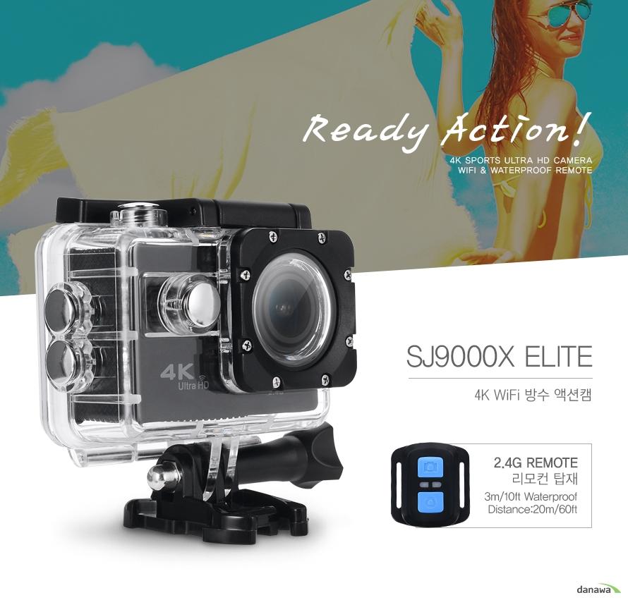 Ready Action! 4k SPORTS ULTRA HD CAMERA Wifi & Waterproof REMOTE /SJCAM SJ9000X ELITE 4K WiFi 방수 액션캠 /2.4G REMOTE 리모컨 탑재 3m/10ft Waterproof Distance:20m/60ft