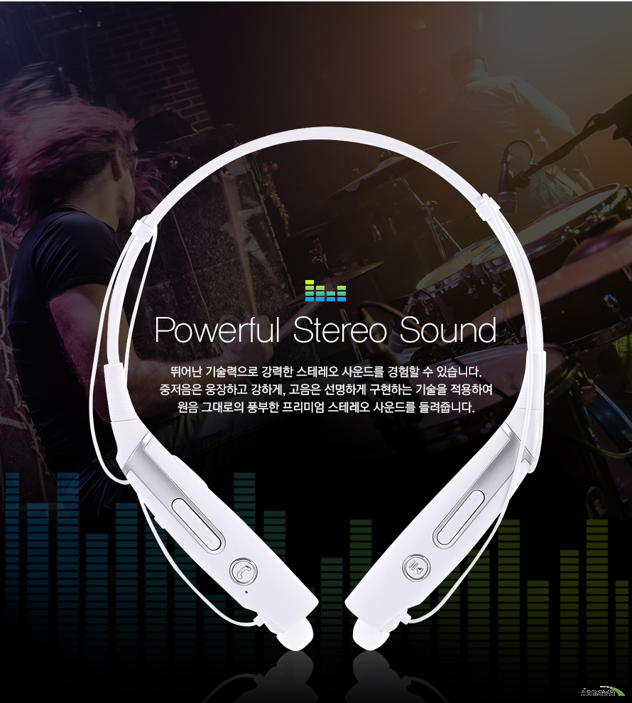 powerful streo sound 뛰어난 기술력으로 강력한 스테레오 사운드를 경험할 수 있습니다 중저음은 웅장하고 강하게 고음은 선명하게 구현하는 기술을 적용하여 원음 그대로의 풍부한 프리미엄 스테레오 사운드를 들려줍니다