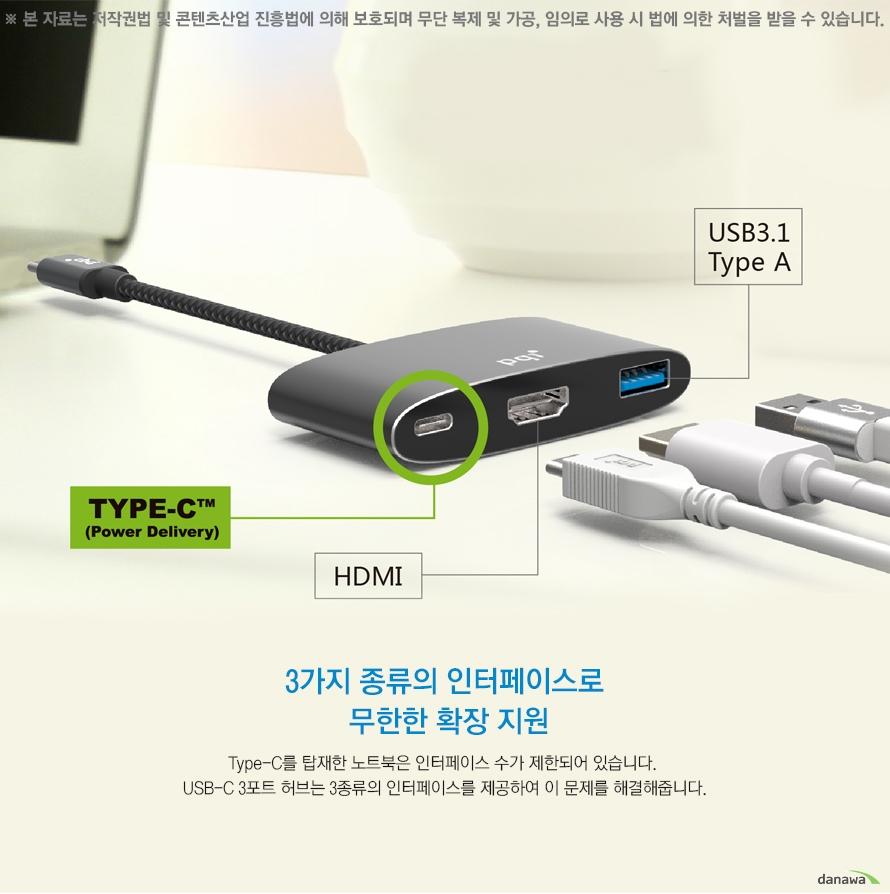 3가지 종류의 인터페이스로 무한한 확장지원 Type-C를 탑재한 노트북은 인터페이스 수가 제한되어 있습니다. USB-C 3포트 허브는 3종류의 인터페이스를 제공하여 이 문제를 해결해줍니다.