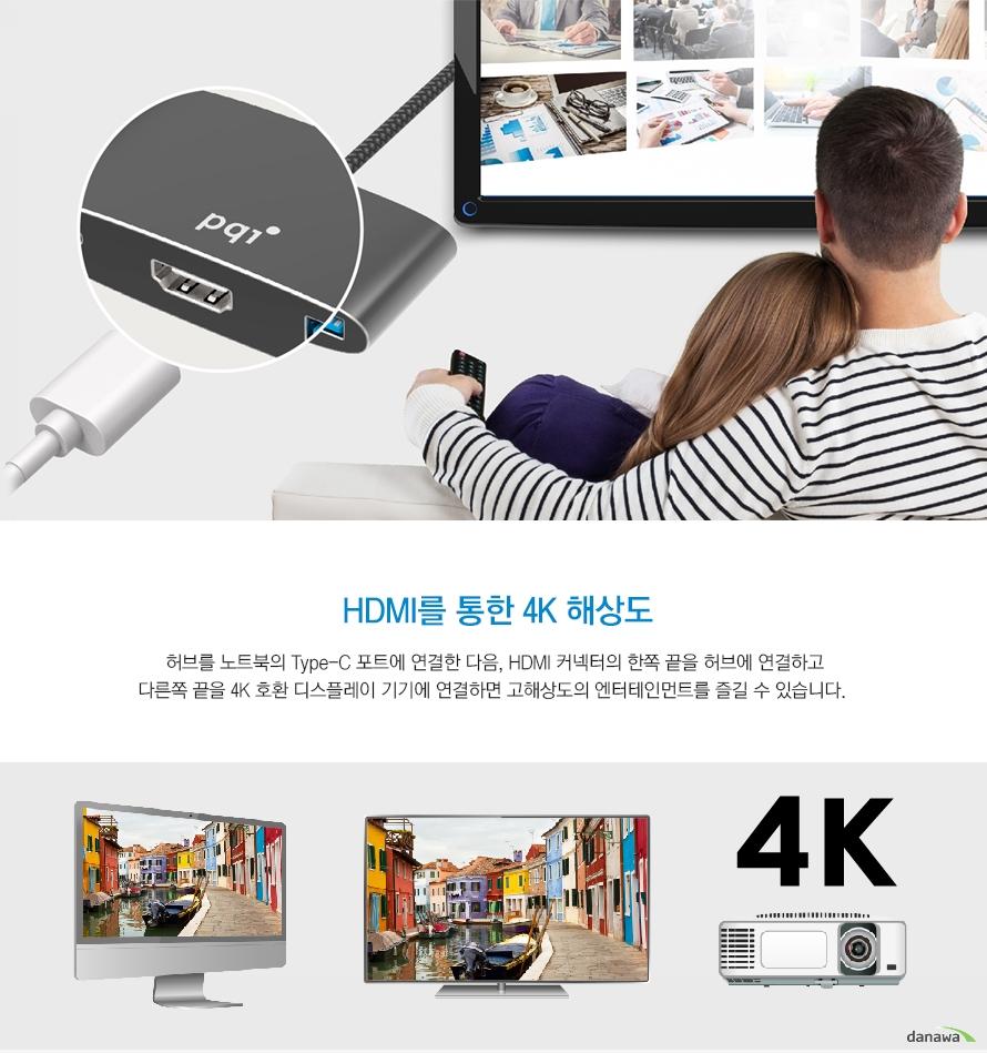 허브를 노트북의 Type-C 포트에 연결한 다음, HDMI 커넥터의 한쪽 끝을 허브에 연결하고다른쪽 끝을 4K 호환 디스플레이 기기에 연결하면 고해상도의 엔터테인먼트를 즐길 수 있습니다.