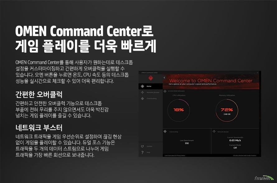 OMEN Command Center로게임 플레이를 더욱 빠르게OMEN Command Center를 통해 사용자가 원하는데로 데스크톱 설정을 커스터마이징하고 간편하게 오버클럭을 실행할 수 있습니다. 오멘 버튼을 누르면 온도, CPU 속도 등의 데스크톱 성능을 실시간으로 체크할 수 있어 더욱 편리합니다. 간편한 오버클럭간편하고 안전한 오버클럭 기능으로 데스크톱 부품에 전혀 무리를 주지 않으면서도 더욱 박진감 넘치는 게임 플레이를 즐길 수 있습니다.네트워크 부스터네트워크 트래픽을 게임 우선순위로 설정하여 끊김 현상 없이 게임을 플레이할 수 있습니다. 듀얼 포스 기능은 트래픽을 두 개의 데이터 스트림으로 나누어 게임 트래픽을 가장 빠른 회선으로 보내줍니다.