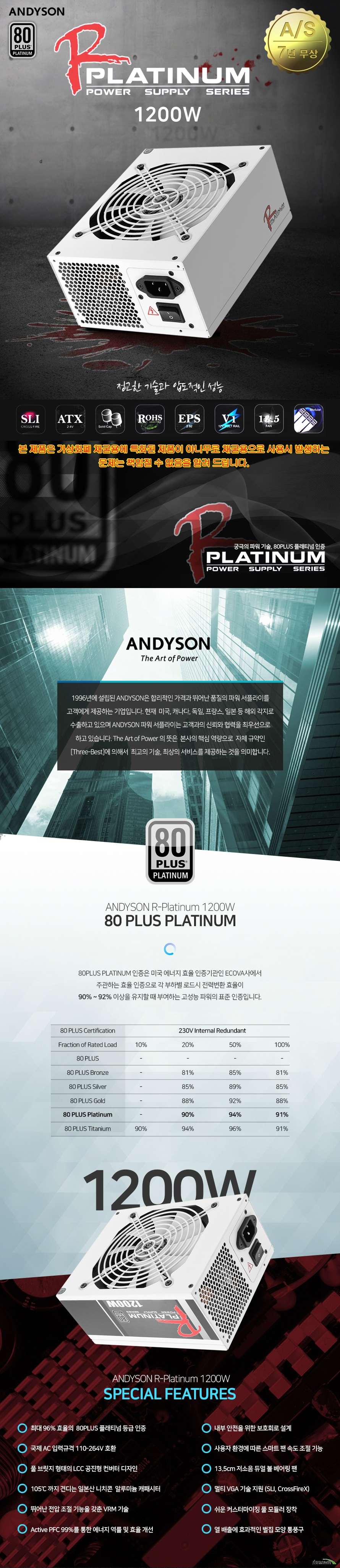 ANDYSON R 1200W PLATINUM  WHITE  Wattage 1200w Pfc type active Operation temp 40도 Efficiency 80plus platinum,  Optic coating black Dimensions 86 mm 150mm 190mm ball bearing cooling fan  fan size 135mm fan speed 1500rpm  modular cabel management full modular cable sleeves fully sleeved  capacitors nichicon Japanese mtbf 10000000 hours  hold up time 16ms ocp ovp uvp scp opp supports  intel kabylake processors supports nvidia sli and amd crossfire x supports  kc msip rei oen ad 1200yyzz 자율안전확인인증번호 yu10631 17001   본 제품은 가상화폐 채굴에 특화되어 있는 제품이 아니므로, 가상화폐 채굴로 인한 문제 발생에는 책임지지 않습니다.