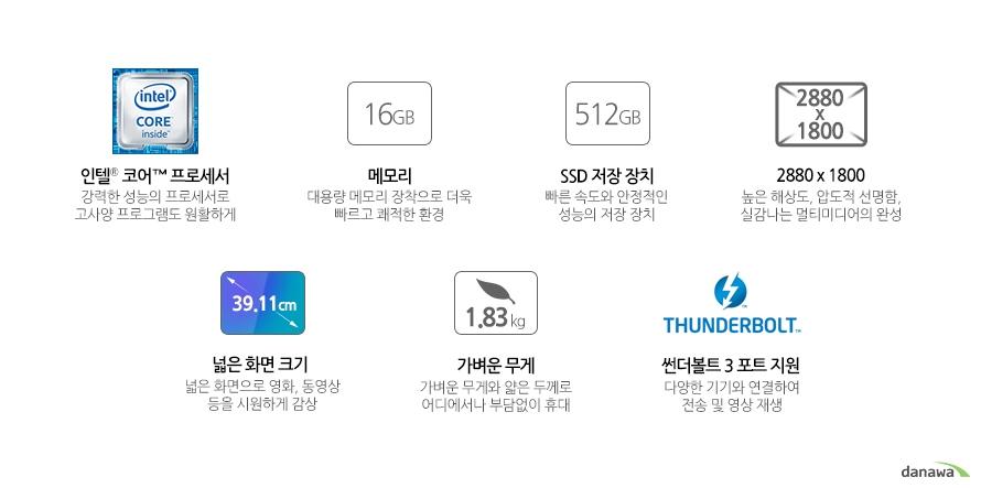 인텔 코어 프로세서메모리 16기가SSD 256 기가해상도 2880 x 1800화면 크기 39.11cm무게 1.83kg썬더볼트3 지원