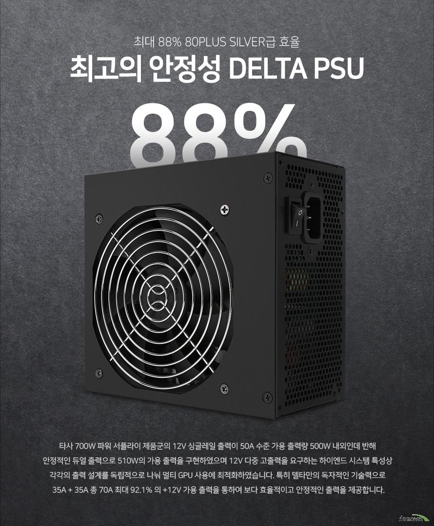 최대 88% 80PLUS Silver급 효율최고의 안정성 DELTA PSU타사 700W 파워 서플라이 제품군의 12V 싱글레일 출력이 50A 수준 가용 출력량 500W 내외인데 반해 안정적인 듀얼 출력으로 510W의 가용 출력을 구현하였으며 12V 다중 고출력을 요구하는 하이엔드 시스템 특성상 각각의 출력 설계를 독립적으로 나눠 멀티 GPU 사용에 최적화하였습니다. 특히 델타만의 독자적인 기술력으로 35A + 35A 총 70A 최대 92.1% 의 +12V 가용 출력을 통하여 보다 효율적이고 안정적인 출력을 제공합니다.