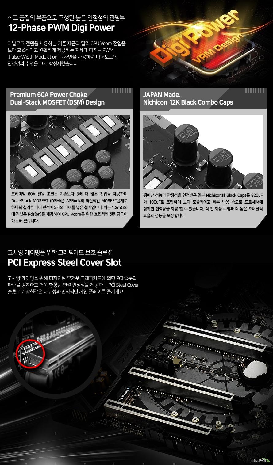 최고 품질의 부품으로 구성된 높은 안정성의 전원부            12페이즈 pwm 디지 파워                        아날로그 전원을 사용하는 기존 제품과 달리 cpu v코어 전압을            보다 효율적이고 원활하게 제공하는 차세대 디지털 pwm 디자인을 사용하여 마더보드의            안정성과 수명을 크게 향상 시켰습니다.                        프리미엄 60암페어 파워 초크             듀얼 스텍 모스펫 디자인                         프리미엄 60암페어 전원 초크는 기존보다 3배 더 많은 전압을 제공하며             듀얼 스택 모스펫은 애즈락의 혁신적인 모스펫 설계로 하나의 실리콘 다이 면적에            2개의 다이를 넣은 설계입니다. 이는 1.2미터옴의 매우 낮은 rds를 제공하며             cpu v코어를 위한 효율적인 전원공급이 가능해졌습니다.                        재팬 메이드 니치콘 12k 블랙 콤보 캡스                        뛰어난 안정성을 인정받은 일본 니치콘사 블랙 캡스를 820 마이크로패럿과            100마이크로패럿으로 조합하여 보다 효율적이고 빠른 반응 속도로 프로세서에 정확한            전력량을 제공 할 수 있습니다. 더 긴 제품 수명과 더 높은 오버클럭 효율과 성능을            보장합니다.                        고사양 게이밍을 위한 그래픽카드 보호 솔루션            pci익스프레스 스틸 커버 슬롯                        고사양 게이밍을 위해 디자인된 무거운 그래픽카드에 의한 pci 슬롯의 파손을 방지하고            더욱 향상된 연결 안정성을 제공하는 pci 스틸 커버 슬롯으로 강철같은 내구성과            안정적인 게임 플레이를 즐기세요.