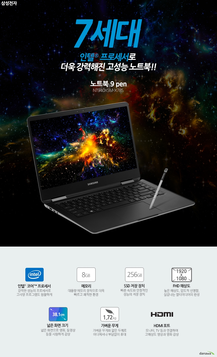 7세대 인텔 프로세서 장착으로 더욱 강력해진 초경량 고성능 노트북!! 삼성전자 노트북9 pen NT940X5M-X78S인텔 코어 프로세서 강력한 성능의 프로세서로 고사양 프로그램도 원활하게8GB 메모리 대용량 메모리 장착으로 더욱 빠르고 쾌적한 환경256GB SSD 저장 장치 빠른 속도와 안정적인 성능의 저장 장치1920 x 1080 FHD 해상도 높은 해상도, 압도적 선명함, 실감나는 멀티미디어의 완성38.1cm 화면 크기 넓은 화면으로 영화, 동영상 등을 시원하게 감상 1.72kg 가벼운 무게 가벼운 무게와 얇은 두께로 어디에서나 부담없이 휴대HDMI 포트 모니터, TV 등과 연결하여 고해상도 영상과 영화 감상