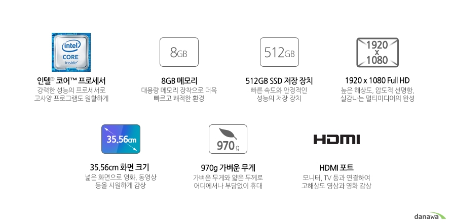 인텔 코어 프로세서 강력한 성능의 프로세서로 고사양 프로그램도 원활하게8GB 메모리 대용량 메모리 장착으로 더욱 빠르고 쾌적한 환경512GB SSD 저장 장치 빠른 속도와 안정적인 성능의 저장 장치빠른 속도와 안정적인 성능의 저장 장치 높은 해상도, 압도적 선명함, 실감나는 멀티미디어의 완성35.56cm 화면 크기 넓은 화면으로 영화, 동영상 등을 시원하게 감상 970g 가벼운 무게 가벼운 무게와 얇은 두께로 어디에서나 부담없이 휴대HDMI 포트 모니터, TV 등과 연결하여 고해상도 영상과 영화 감상