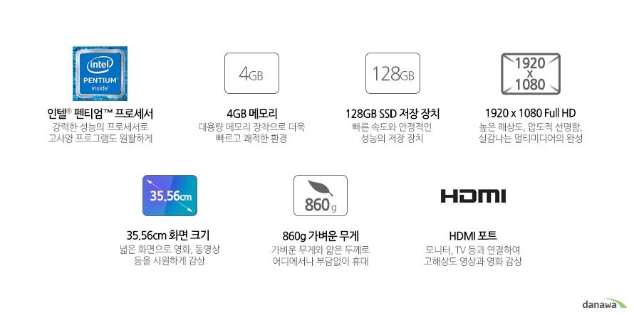 인텔 펜티엄 프로세서 강력한 성능의 프로세서로 고사양 프로그램도 원활하게4GB 메모리 대용량 메모리 장착으로 더욱 빠르고 쾌적한 환경128GB SSD 저장 장치 빠른 속도와 안정적인 성능의 저장 장치빠른 속도와 안정적인 성능의 저장 장치 높은 해상도, 압도적 선명함, 실감나는 멀티미디어의 완성35.56cm 화면 크기 넓은 화면으로 영화, 동영상 등을 시원하게 감상 860g 가벼운 무게 가벼운 무게와 얇은 두께로 어디에서나 부담없이 휴대HDMI 포트 모니터, TV 등과 연결하여 고해상도 영상과 영화 감상
