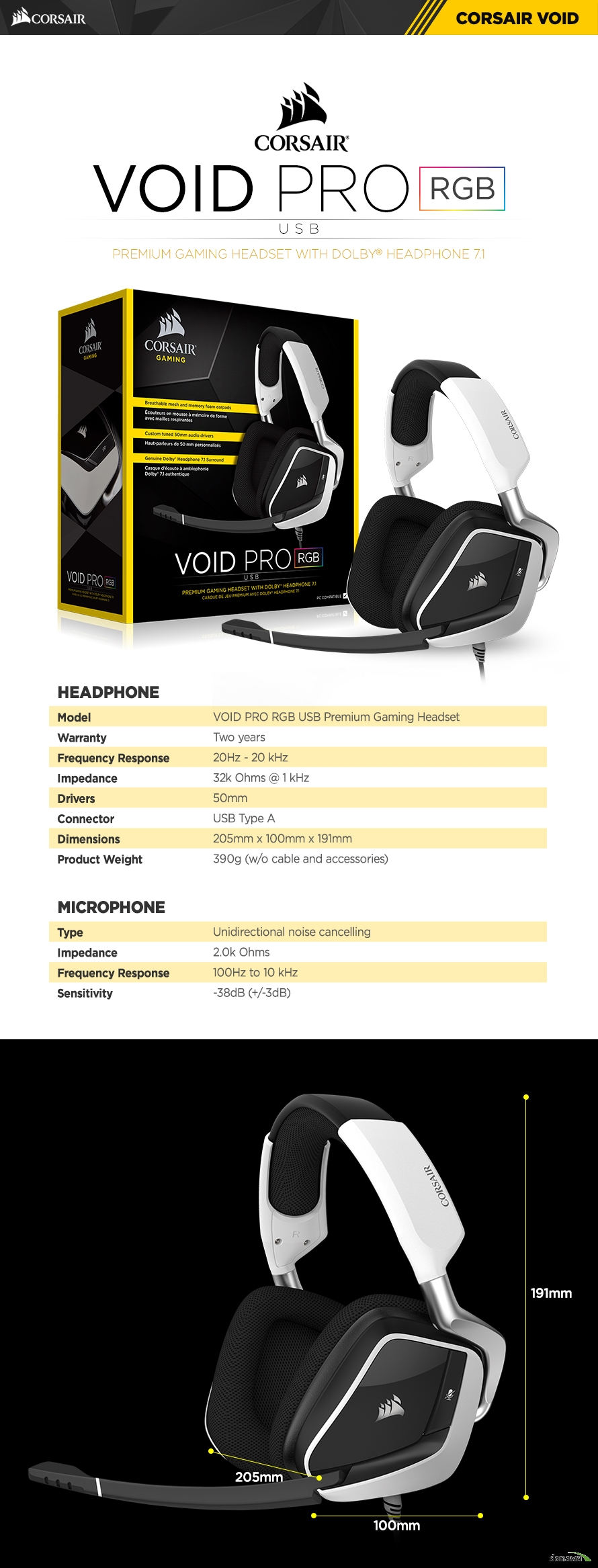 HEADPHONE	Model	VOID PRO RGB USB Premium Gaming HeadsetWarranty	Two yearsFrequency Response	20Hz - 20 kHzImpedance	32k Ohms @ 1 kHzDrivers	50mmConnector	USB Type ADimensions	205mm x 100mm x 191mmProduct Weight	390g (w/o cable and accessories)	MICROPHONE	Type	Unidirectional noise cancellingImpedance	2.0k OhmsFrequency Response	100Hz to 10 kHzSensitivity	-38dB (+/-3dB)