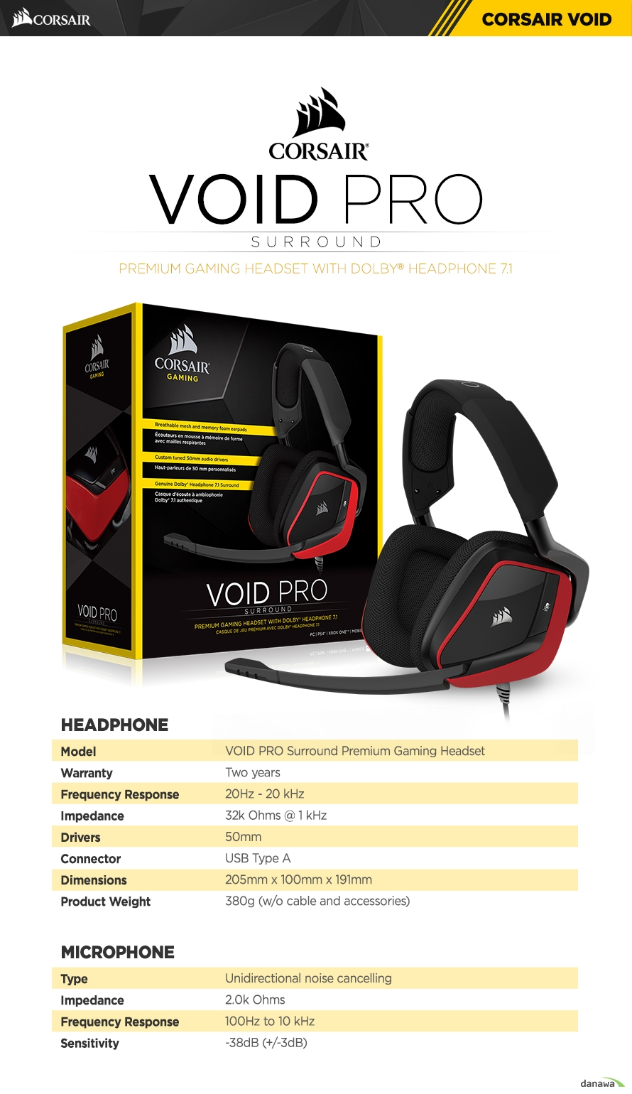 HEADPHONE	Model	VOID PRO Surround Premium Gaming HeadsetWarranty	Two yearsFrequency Response	20Hz - 20 kHzImpedance	32k Ohms @ 1 kHzDrivers	50mmConnector	USB Type ADimensions	205mm x 100mm x 191mmProduct Weight	380g (w/o cable and accessories)	MICROPHONE	Type	Unidirectional noise cancellingImpedance	2.0k OhmsFrequency Response	100Hz to 10 kHzSensitivity	-38dB (+/-3dB)