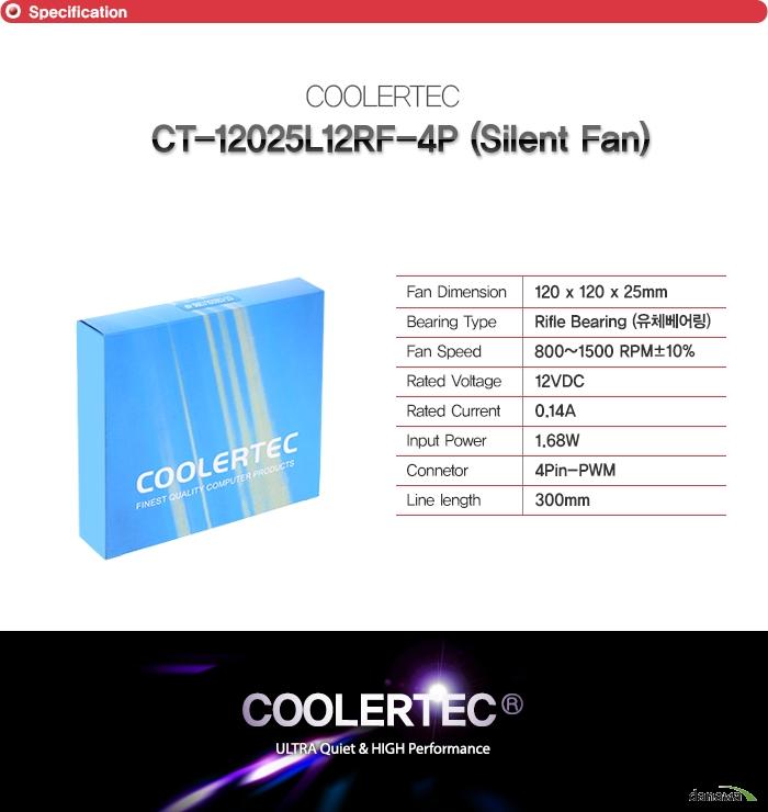 쿨러텍 ct 12025l12rf 4p        팬 사이즈 120밀리미터 120밀리미터 25밀리미터    베어링 타입 라이플 유체베어링    팬 속도 800에서 1500RPM + - 10퍼센트    정격 전압 12VDC    RATED CURRENT 0.14A    INPUT POWER 1.68와트    커넥터 종류 4핀 PWM 커넥터    줄 길이 300밀리미터