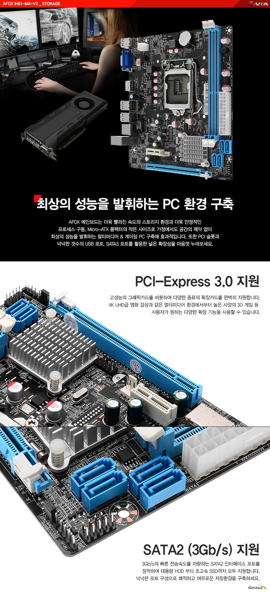 최상의 성능을 발휘하는 PC환경 구축AFOX 메인보드는 더욱 빨라진 속도의 스토리지 환경과 더욱 안정적인 프로세스 구동및 MICRO ATX 폼팩터의작은 사이즈로 가정에서도 공간의 제약 없이 최상의 성능을 발휘하는 멀티미디어와 게이밍 PC구축에 효과적입니다. 또한 PCI 슬롯과 넉넉한 갯수의 USB포트 그리고 SATA3포트를 활용한 넓은 확장성을마음껏 누려보세요.PCI 익스프레스 3.0 지원고성능의 그래픽카드를 비롯하여 다양한 종류의 확장카드를 완벽히 지원합니다.4K UHD급 영화감상과 같은 멀티미디어 환경에서부터 높은 사양의 3D게임 등 사용자가원하는 다양한 확장 기능을 사용할 수 있습니다.SATA2 지원3기가바이트의 빠른 전송속도를 자랑하는 SATA2인터페이스 포트를 장착하여 대용량 HDD부터 초고속SSD까지 모두 지원합니다. 넉넉한 포트 구성으로 쾌적하고 여유로운 저장환경을 구축하세요.