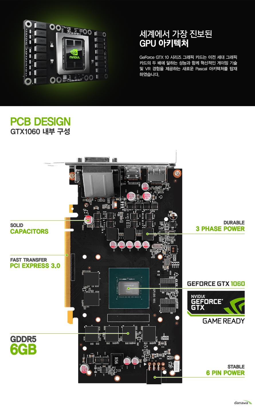 세계에서 가장 진보된 gpu 아키텍처                지포스 gtx10 시리즈 그래픽 카드는 이전 세대 그래픽 카드의 두 배에 달하는        성능과 함께 혁신적인 게이밍 기술 및 vr 경험을 제공하는 새로운 파스칼 아키텍처를        탑재 하였습니다.