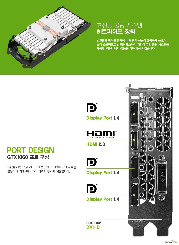 고성능 쿨링 시스템 히트파이프 장착                방열판만 장착된 쿨러에 비해 냉각 성능이 월등하게 높으며        보다 효율적으로 발열을 해소하기 위하여 듀얼 쿨링 시스템을        채용해 부품의 냉각 성능을 더욱 향상 시켰습니다.            디스플레이 포트 1.4 3개        hdmi 2.0 포트 1개         듀얼 dvi d 포트 2개를 활용하여 최대 4대의        모니터까지 동시에 지원합니다.