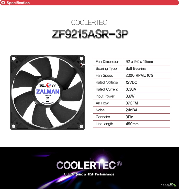 쿨러텍 ZF9215ASR 3P        팬 사이즈 92밀리미터 92밀리미터 15밀리미터    베어링 타입 볼 베어링    팬 속도 2300RPM + - 10퍼센트    정격 전압 12VDC    RATED CURRENT 0.30A    INPUT POWER 3.6와트    에어 플로우 37 CFM    소음 24데시벨    커넥터 종류 3핀 커넥터    줄 길이 490밀리미터