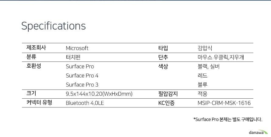 Specification        제조회사     Microsoft    분류         터치펜    호환성       서피스 프로,서피스 프로4,서피스 프로3    크기         9.5x144x10.20(WxHXD)    커넥터 유형  블루투스 4.0LE    타입         감압식    단추         마우스 우클릭, 지우개    색상         블랙,실버,레드,블루    필압감지     적용    KC인증       MSIP-CRM-MSK-1616       *Surface Pro 본체는 별도 구매입니다.