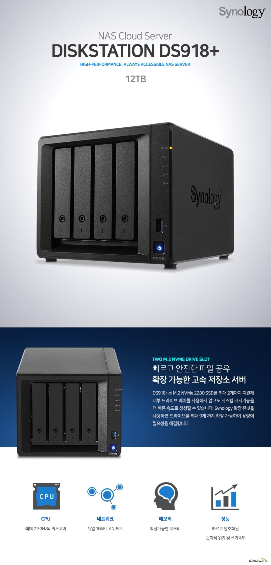 DISKSTATION DS918+. 빠르고 안전한 파일 공유 확장 가능한 고속 저장소 서버. DS918+는 M.2 NVMe 2280 SSD를 최대 2개까지 지원해 내부 드라이브 베이를 사용하지 않고도 시스템 캐시기능을 더 빠른 속도로 생성할 수 있습니다. Synology 확장 유닛을 사용하면 드라이브를 최대 9개 까지 확장 가능하여 용량에 필요성을 해결합니다. CPU 최대 2.3GHz의 쿼드코어/네트워크 듀얼 1GbE LAN 포트/메모리 확장가능한 메모리/성능 빠르고 암호화된 순차적 읽기 및 쓰기속도