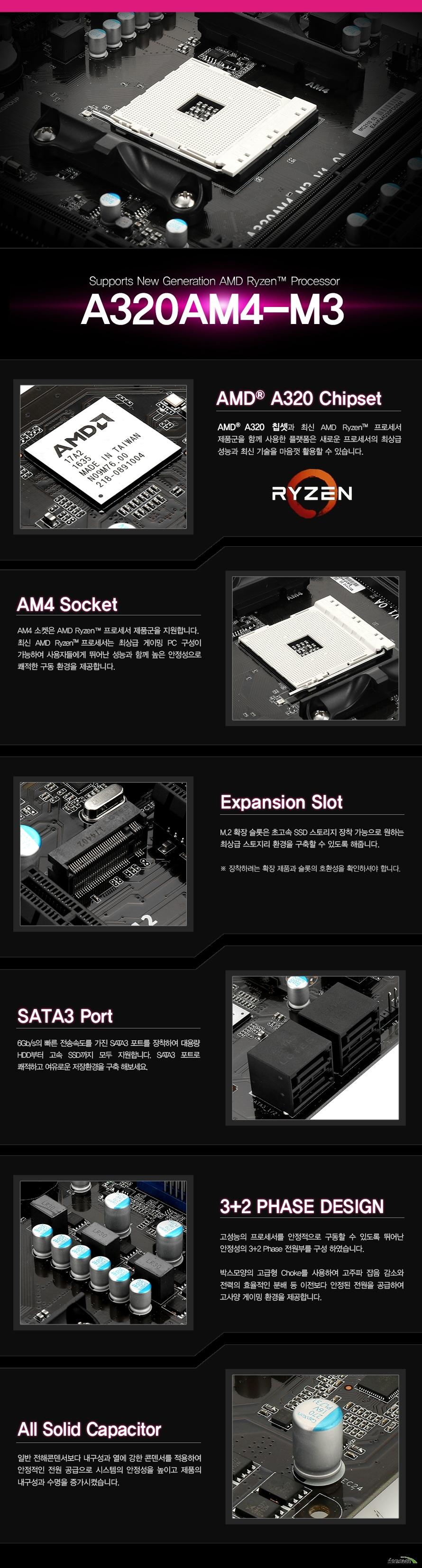 상세 정보                폼팩터 mATX( 220 x 205 밀리미터)                소켓규격 amd am4 socket for amd ryzen processors 와        7th gen a series 및 athlon processors 지원        칩셋 amd a320                메모리 듀얼채널 ddr4 메모리 구성        ddr4 2667 2400 2133                 2 x 288핀 ddr4 dimm 소켓                최대 32기가바이트 지원                        확장슬롯 pcie 3.0 16배속 슬롯 1개             pcie 2.0 1배속 슬롯 1개                 m.2 key M 2242 2260 2280 for PCIe SSD 슬롯 1개                         오디오 realtek alc662 코덱               6 채널 hd 오디오                랜 realtek rtl8111h 기가비트 랜                스토리지 인터페이스 사타3 6기가바이트 커넥터 4개                usb usb3.0 6개 백패널 4개 및 헤더 2개            usb2.0 6개 백패널 2개 및 헤더 4개                    kc 인증 MSIP REM ETW A320AM4 M3                제조사의 사정에 따라 사전고지 없이 일부 제품사양이 변경될 수 있습니다.        구매 전 파워 서플라이의 CPU프로세서 지원 여부를 확인하시기 바랍니다.